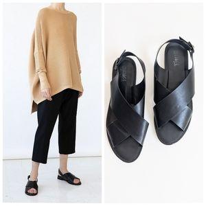Rogue Boardwalk Black Crossover Slingback Sandals